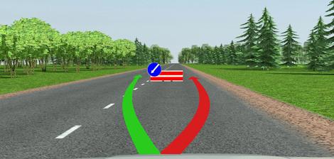 Объезд препятствия слева